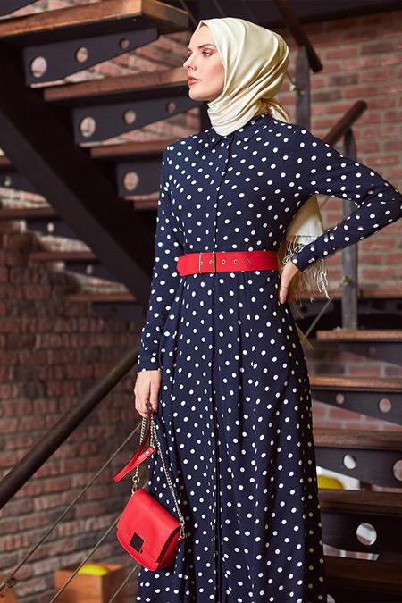 Refka Lacivert Doğal Kumaşlı Elbise