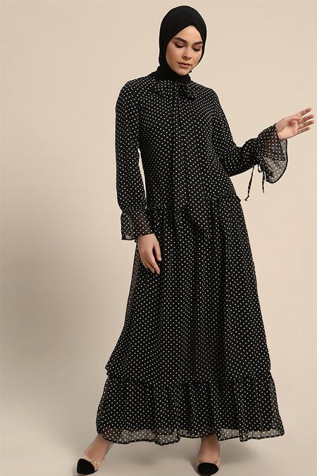 Refka Siyah Beyaz Puantiyeli Elbise