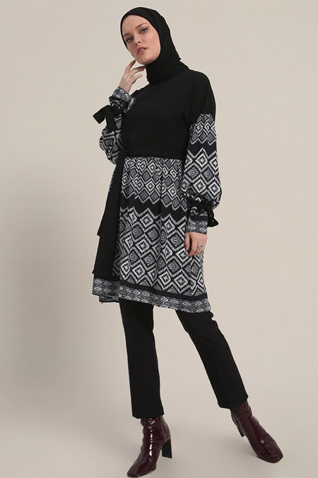 Refka Siyah Desenli Tunik