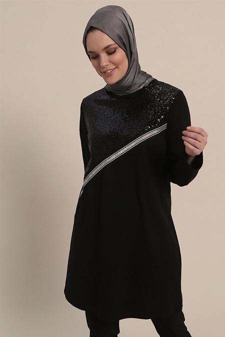 Refka Siyah Payetli Tunik