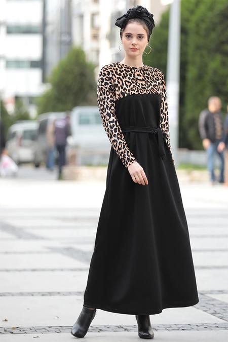 Selma Sarı Design Kahve Kadife Leopar Garnili Rahat Kumaş Elbise