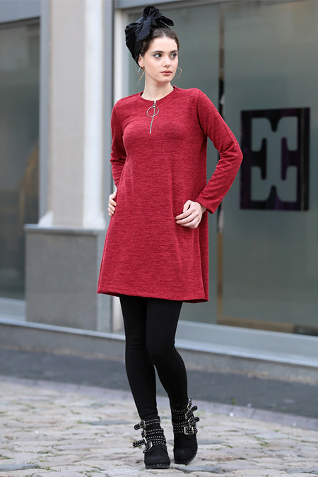 Selma Sarı Design Kırmızı Fermuarlı Salaş Triko Tunik