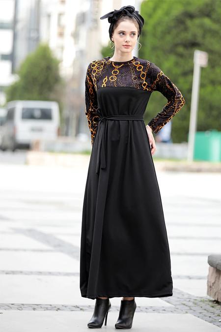 Selma Sarı Design Siyah Kadife Zincir Desen Garnili Rahat Kumaş Elbise