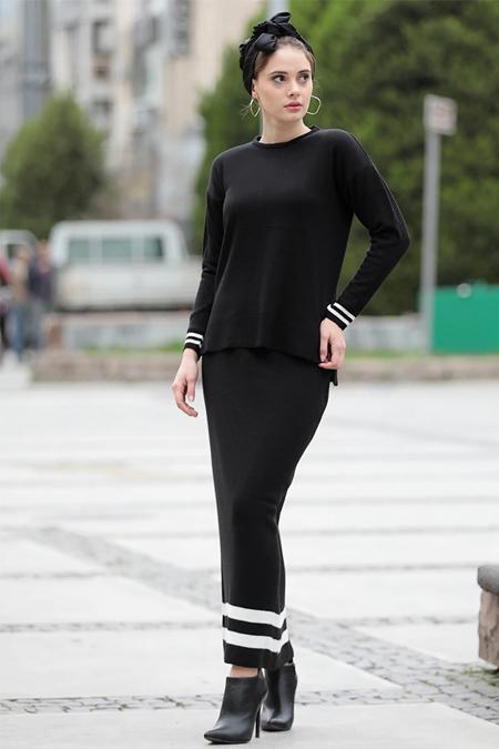 Selma Sarı Design Siyah Triko Etek & Bluz İkili Takım