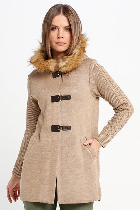 Sementa Bej Kapüşonlu Triko Ceket