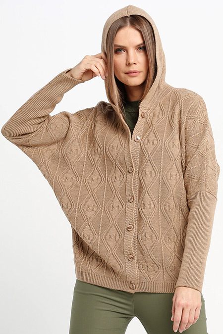 Sementa Camel Kapüşonlu Triko Ceket