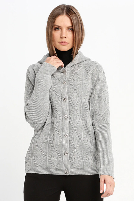 Sementa Gri Kapüşonlu Triko Ceket