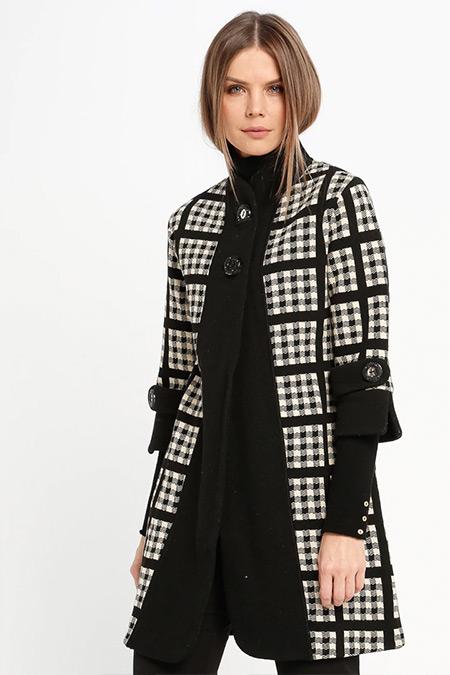 Sementa Siyah Krem Yünlü Düğmeli Ceket