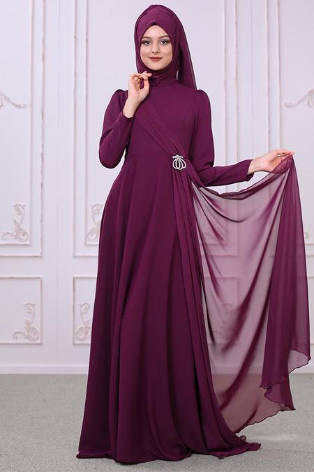 SomFashion Mürdüm Şelale Abiye Elbise