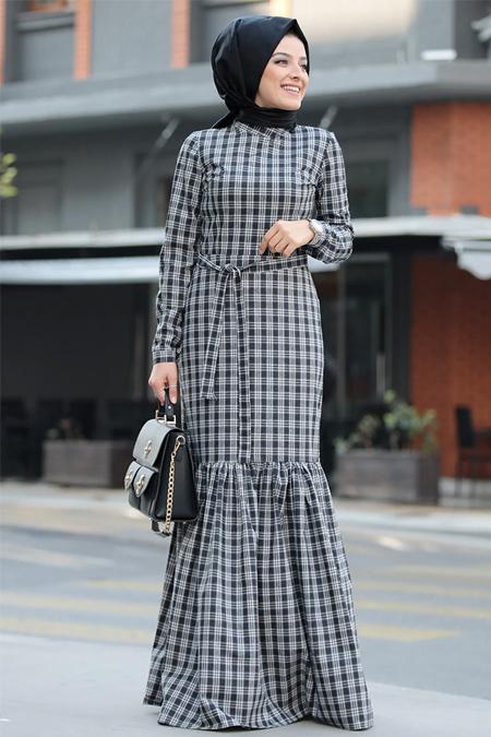 Zehrace Siyah Ekose Elbise