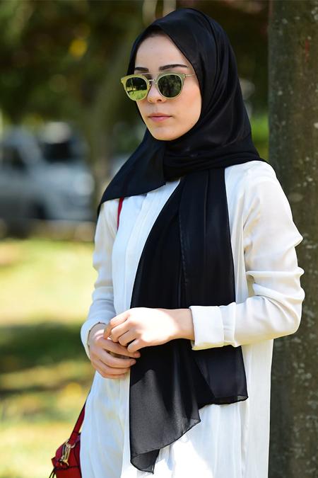 Argite Eşarp Siyah İki Renkli Deri Görünümlü Şifon Şal