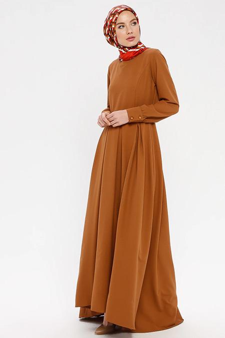 BÜRÜN Taba Pile Detaylı Elbise