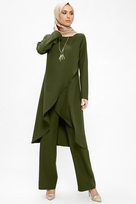 BÜRÜN Yeşil Tunik&Pantolon İkili Takım