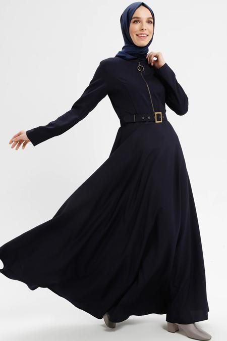 BÜRÜN Lacivert Fermuar Detaylı Kemerli Elbise