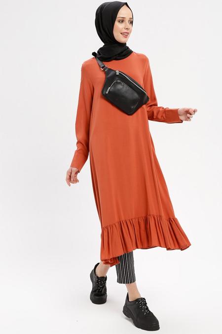 Beha Tesettür Kiremit Eteği Fırfırlı Elbise Tunik