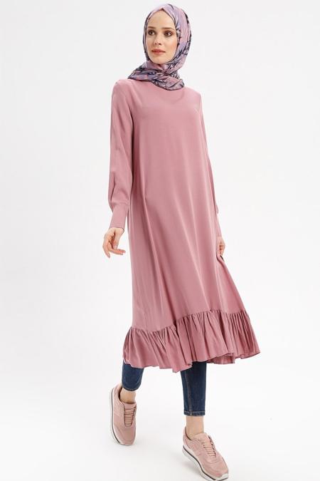 Beha Tesettür Pudra Eteği Fırfırlı Elbise Tunik