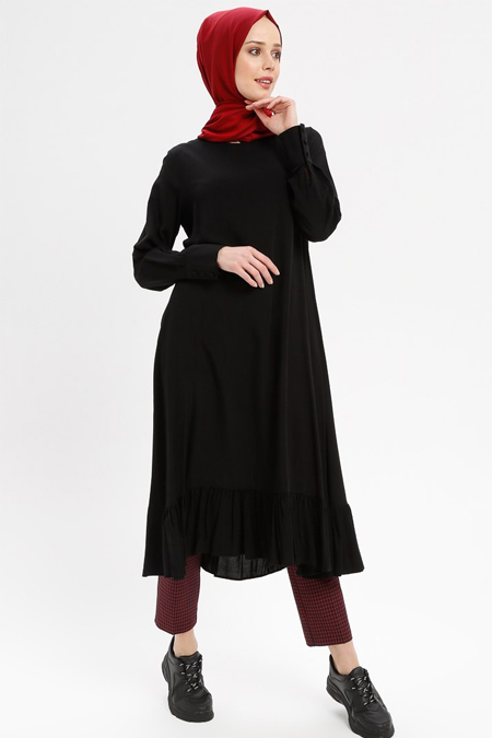 Beha Tesettür Siyah Eteği Fırfırlı Elbise Tunik
