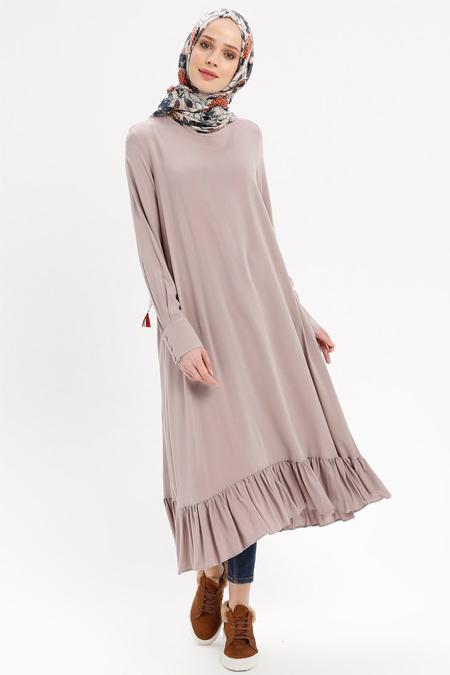 Beha Tesettür Taş Eteği Fırfırlı Elbise Tunik