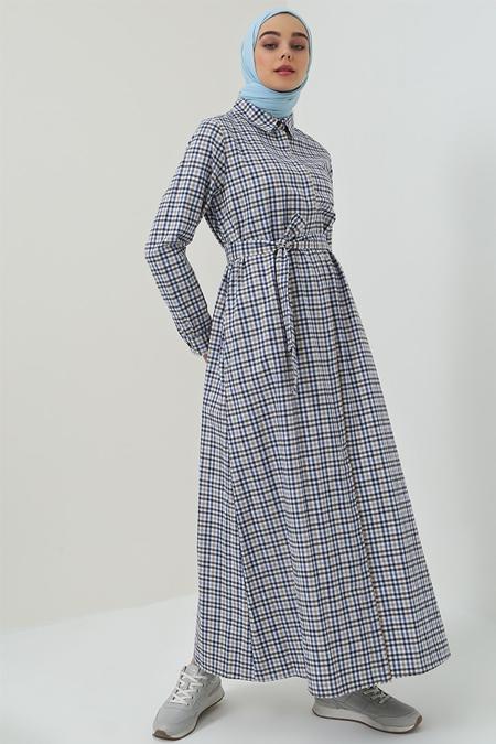 Benin Bej Lacivert Boydan Gizli Düğmeli Cep Detaylı Elbise