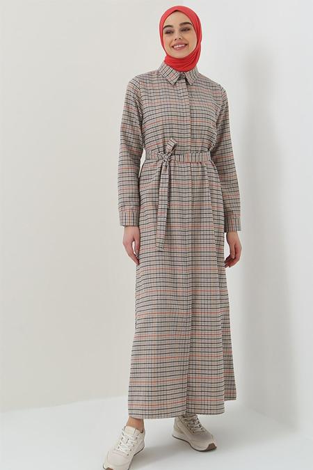Benin Kiremit Bej Boydan Gizli Düğmeli Cep Detaylı Elbise
