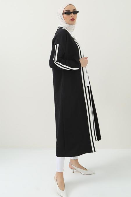 Benin Siyah Şeritli Uzun Hırka