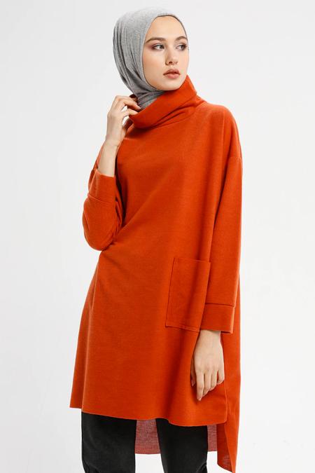 Çat Pat Tekstil Kiremit Cep Detaylı Boğazlı Yaka Tunik