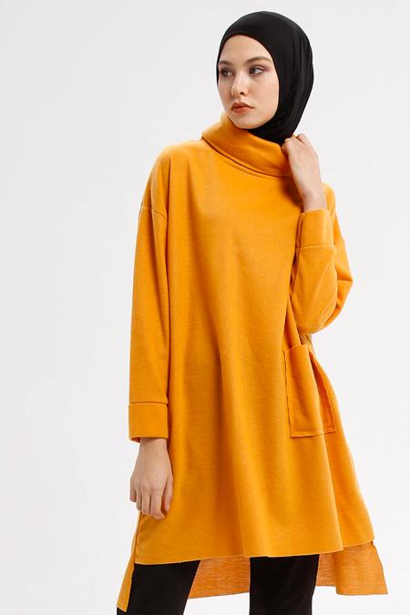 Çat Pat Tekstil Turuncu Cep Detaylı Boğazlı Yaka Tunik