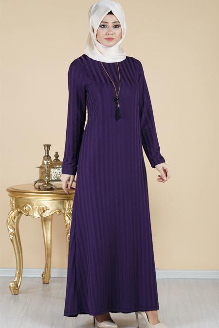 Çizgili Astarlı Tesettür Elbise