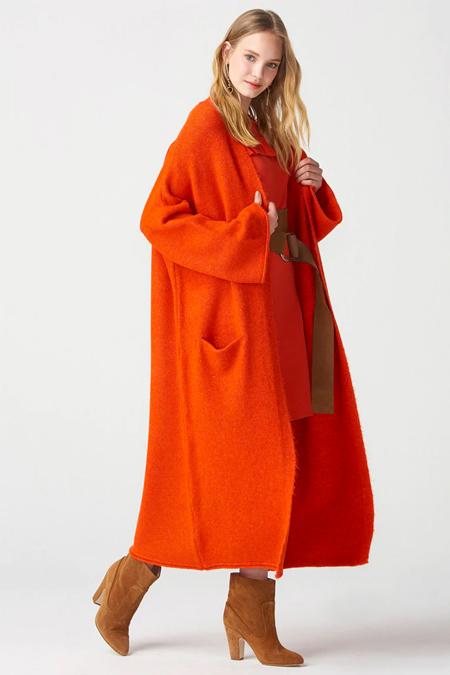 Dilvin Turuncu Kimono Kollu Cepli Triko Hırka