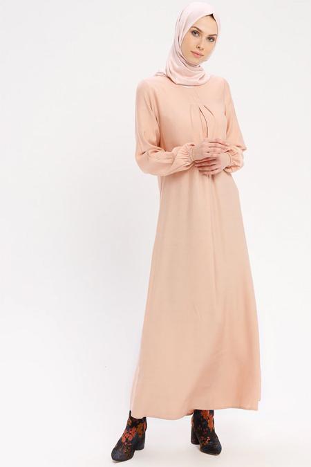 ECESUN Pudra Doğal Kumaşlı Elbise