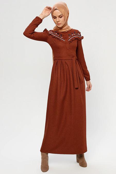 ELİT LİFE Kahverengi Nakış Detaylı Elbise