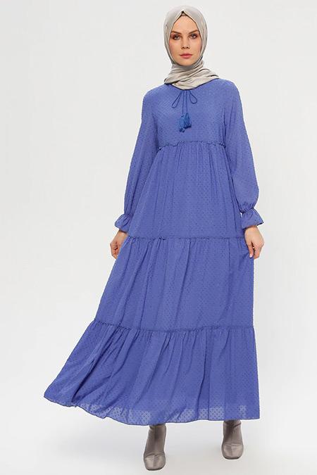 ELİT LİFE Mavi Yakası Bağcıklı Elbise