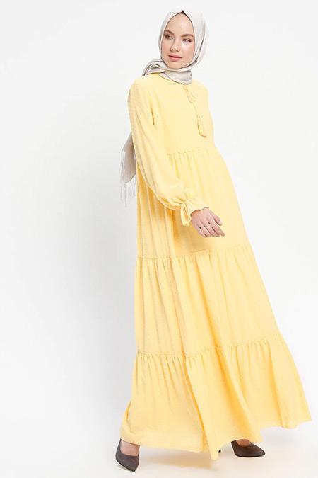 ELİT LİFE Sarı Yakası Bağcıklı Elbise