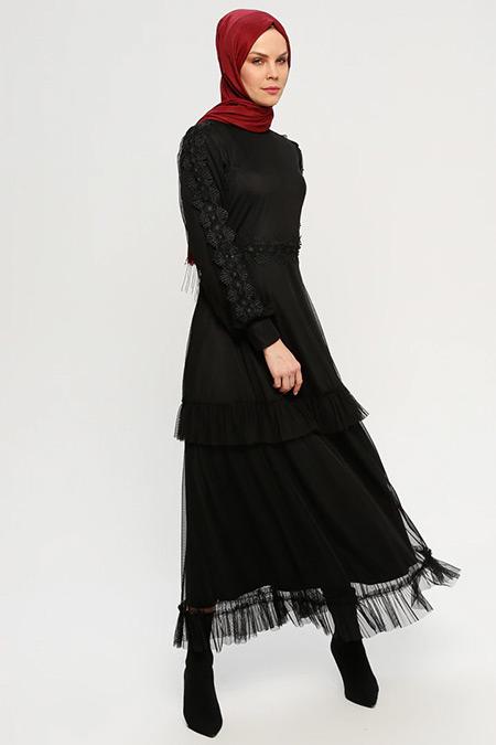 ELİT LİFE Siyah Güpürlü Abiye Elbise