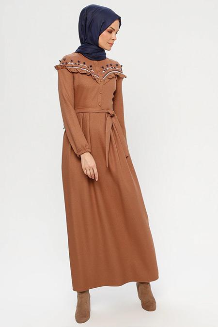 ELİT LİFE Taba Nakış Detaylı Elbise