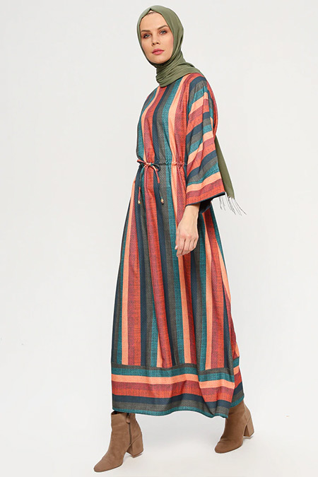 ELİT LİFE Turuncu Yeşil Çizgili Salaş Elbise