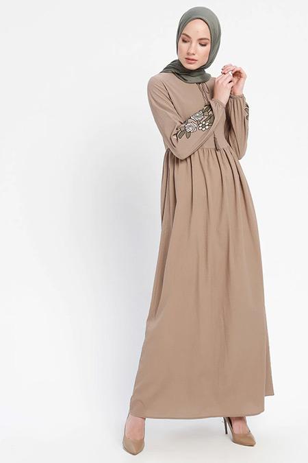 ELİT LİFE Vizon Kolları Nakışlı Elbise