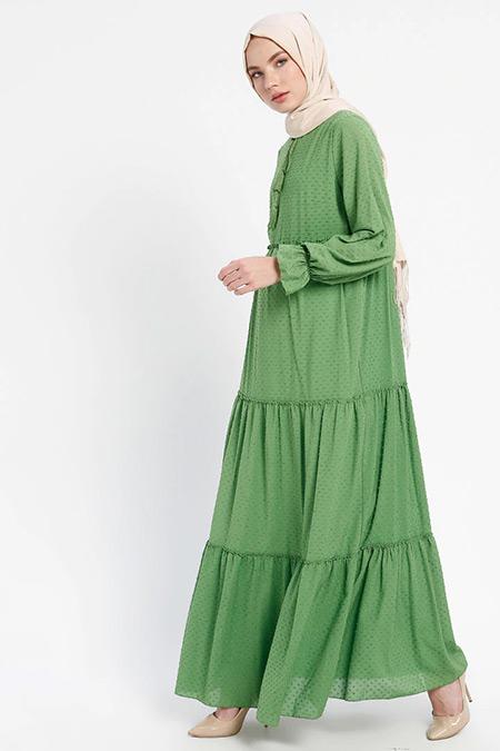 ELİT LİFE Yeşil Yakası Bağcıklı Elbise