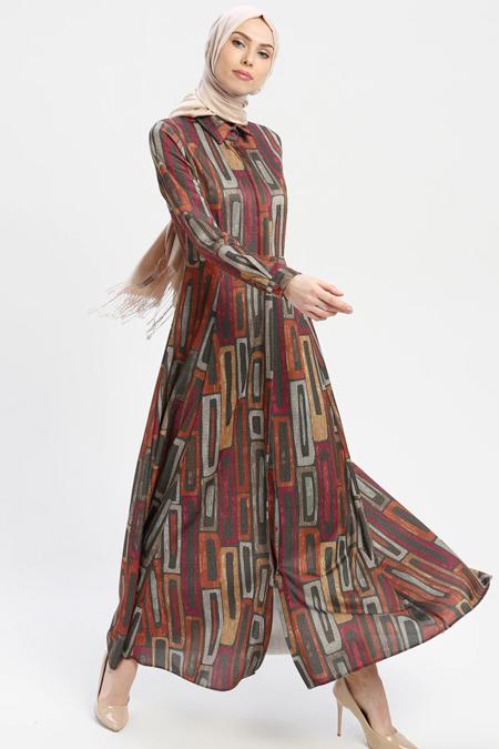 ELİT LİFE Fuşya Haki Desenli Elbise