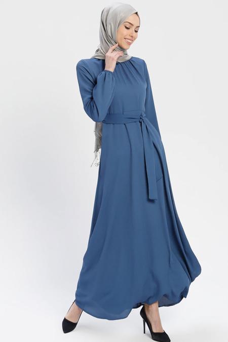 ELİT LİFE İndigo Kemerli Elbise