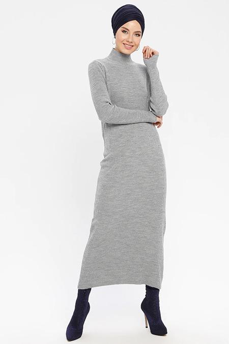 ERL Açık Gri Boğazlı Triko Elbise