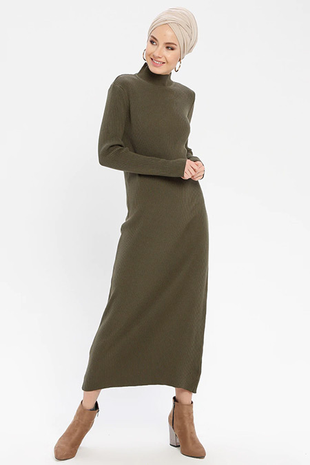 ERL Haki Boğazlı Triko Elbise