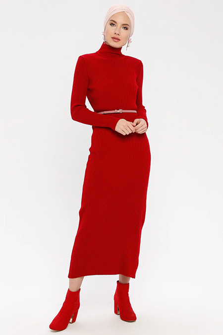ERL Kırmızı Boğazlı Triko Elbise