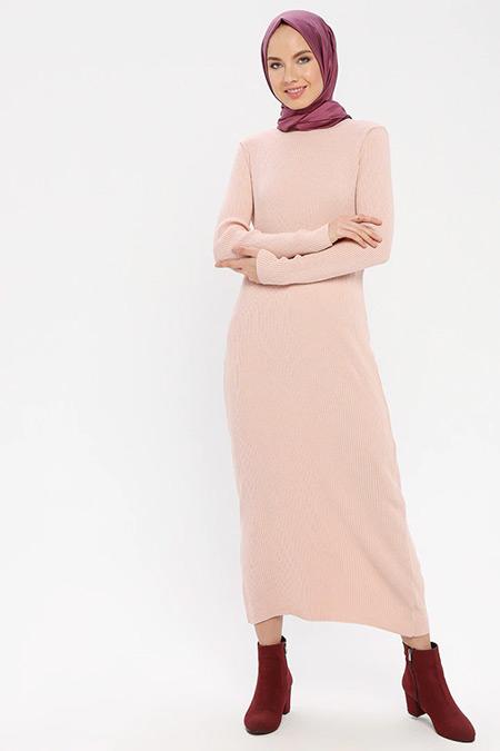 ERL Pudra Boğazlı Triko Elbise