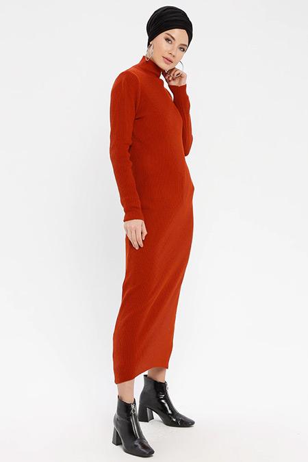 ERL Taba Boğazlı Triko Elbise