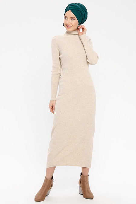 ERL Vizon Boğazlı Triko Elbise