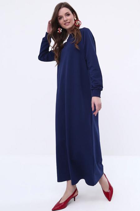 Everyday Basic Açık Lacivert Düz Renk Spor Elbise