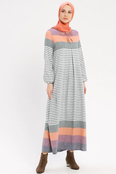 Ginezza Haki Çizgili Elbise