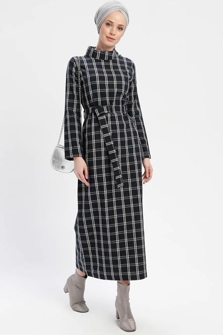 İLMEK TRİKO Lacivert Kemerli Ekose Elbise