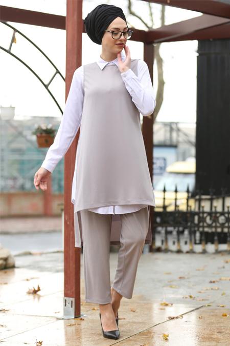 İnşirah Gri Tunik & Pantolon İkili Takım